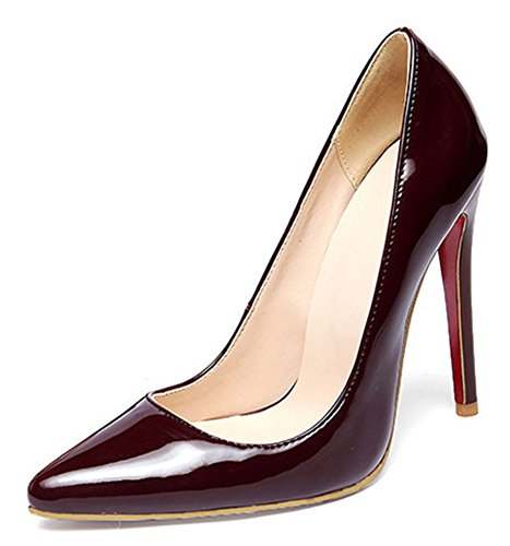 Toe 13 Shoes High Wine Heel B US Pointed Fashion Low Cut Womens Red Stiletto Solid Pumps Easemax M q6tUwpn