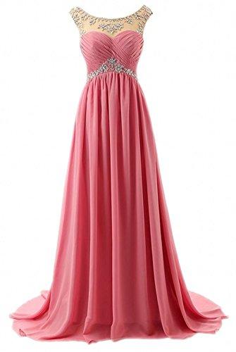 Olidress Prom Blush Dresses Chiffon Strapless Long Women's Beading Bridesmaid Swn8qrTSvx