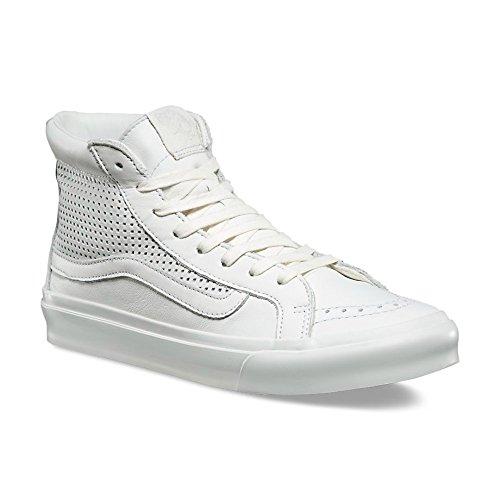 Vans Sk8 Salut Femmes Taille 5 Carré Perf Blanc Blanc Chaussures En Cuir De Mode