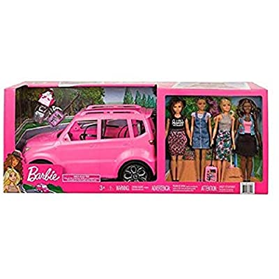 Barbie SUV Girls Road Trip Play Set with 4 Dolls: Toys & Games