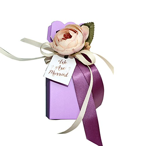 Moleya Pack of 20 pcs DIY Wedding Favors - Elegant Purple Box Shopping Results