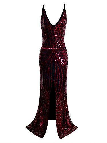 Vijiv Années 1920 Robes De Bal Longue Fente Robe De Soirée Sirène Sequin Cou V Profond De Demoiselle D'honneur Rouge