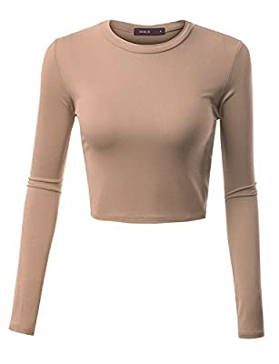 Doublju Womens Long Sleeve Round Neck Basic Casual Comfy Crop Top