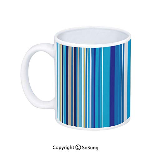 Blue Coffee Mug,Vertical Stripes Repeating Retro Revival Pattern Funky Abstract Composition Decorative,Printed Ceramic Coffee Cup Water Tea Drinks Cup,Mustard Blue White Chrome Revival 2 Handle