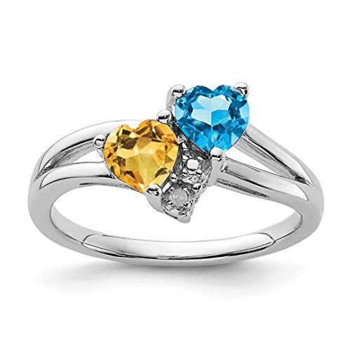 - 925 Sterling Silver Blue Topaz Yellow Citrine Diamond Band Ring Size 8.00 S/love Gemstone Fine Jewelry For Women Gift Set
