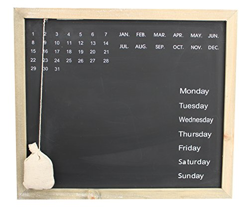 Royal Brands Chalkboard Calendar Wood Frame Chalk Board Daily Message Wall Calendar Decorative Rustic Look Family Blackboard Planner Home Office Or Classroom (Rectangle) by Royal Brands