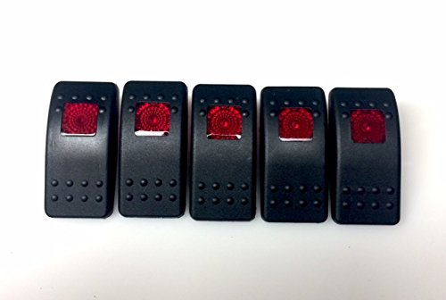 - Euro Rocker Marine Switch Cover Black with 1 Red Lens, 5 pack