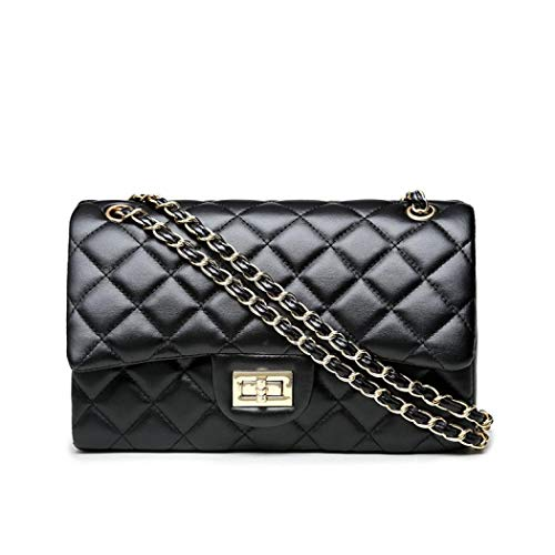 Volcanic Rock Women's Quilted Crossbody Girl Side Wallet And Shoulder Bag Clutch Chain (Black) ()