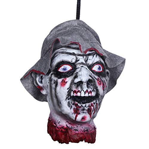 MONEIL Halloween Props Scary Hanging Severed Head Decorations,Life-Size Bloody Cut Off Corpse Head Ghost Animated Zombie Head for Haunted Houses Party Decor Funny Festive Supplies (Horror Head SD) -