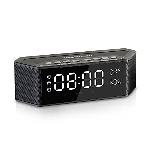 Alarm Clock Radio with Bluetooth Speakers and Digital FM Radio, Stereo Sound , 3 Alarm with Snooze, Large LED Dimmable Display, Tsumbay Multi-functional Wireless Speakers for Bedroom, Outdoor, Office