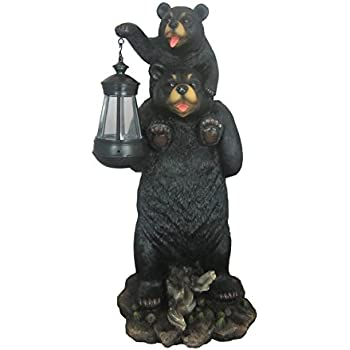 Charming Bear And Cub Playful Outdoor Statue With Solar Lantern By DWK | Patio And  Garden Decorative