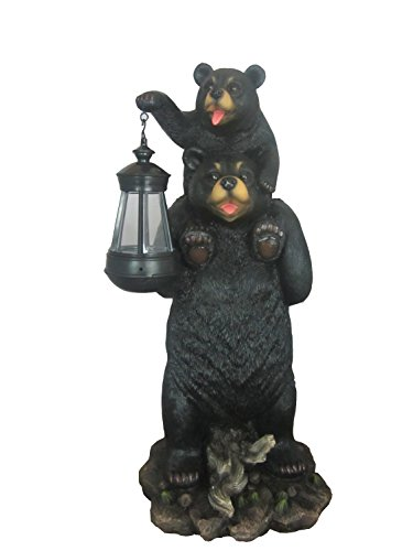 Bear And Cub Playful Outdoor Statue with Solar Lantern By DWK | Patio And Garden Decorative Sculpture