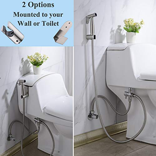 Hand Held Bidet Toilet Sprayer Kit, Nicmondo Advanced Cloth Diaper Washer Portable Shower Sprayer Stainless Steel Spray Muslim Shattaf set for Personal Hygiene - Brushed Nickel by Nicmondo (Image #1)