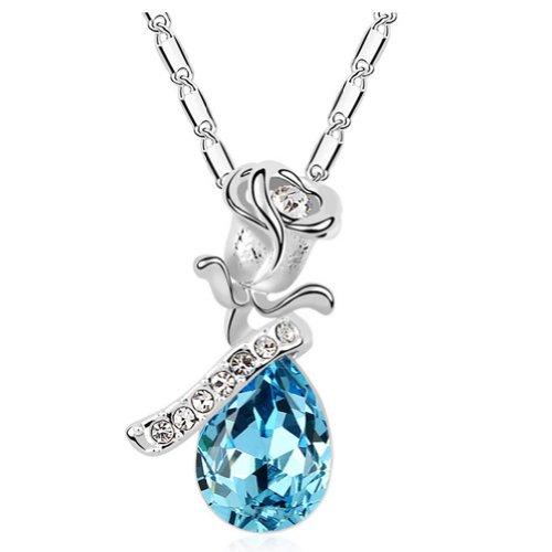 Brass 18k Gold Electroplated (Latigerf Flower Teardrop Pendant Necklace White Gold Plated Swarovski Elements Crystal Blue)