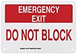 Brady 127147 Fire Safety Sign, Legend'Emergency Exit Do Not Block', 7' Height, 10' Width, Red on White