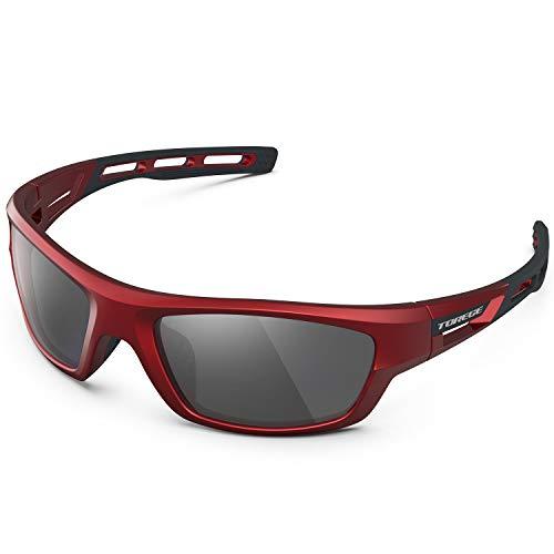 TOREGE Polarized Sports Sunglasses for Man Women Cycling Running Fishing Golf TR90 Unbreakable Frame TR07 Steath Man