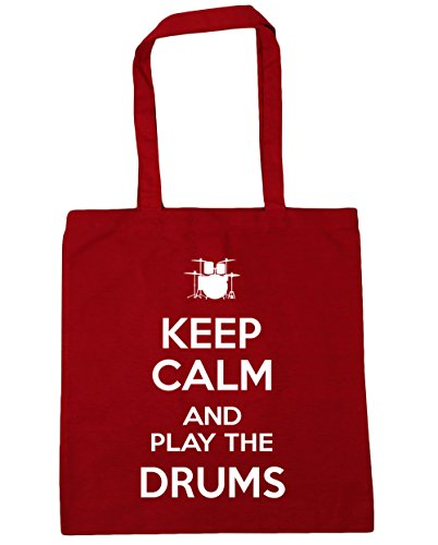 HippoWarehouse Keep calm and play el Tambores Tote Compras Bolsa de playa 42 cm x38 cm, 10 litros Classic Red