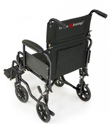 (Everest & Jennings EJNAV-18BK Navigator Transport Wheelchair, Flip Back Desk Arm, Swing Away Footrest, 18