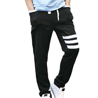 Magiftbox Men's Slim Fit Harem Jogging Sports Stripe Pants K99_Black