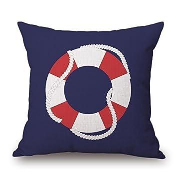 Funda de cojín con diseño de la vida náutica, color blanco y ...