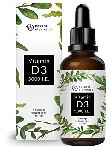 Vitamin D3 - Laborgeprüfte 5000 I.E. pro Tropfen - 50ml (1700 Tropfen) - Variante des mehrfachen Siegers 2019/2020* - In MCT-Öl aus Kokos - Hochdosiert, flüssig und hergestellt in Deutschland