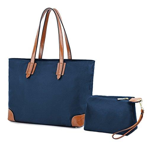YALUXE Women's Stylish Leather Oxford Nylon Tote Bag Set with large Wrist Purse Travel Shoulder Bag (Leather Nylon Luggage Set)