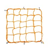 uxcell 6 Hooks Hold Bungee Cord Yellow Motorcycle Cargo Net Mesh 40 x 40cm