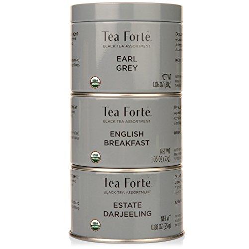 Tea Forte LOOSE LEAF TEA TRIO, 3 Small Tea Tins, Black Tea Sampler - Earl Grey, English Breakfast, and Estate Darjeeling