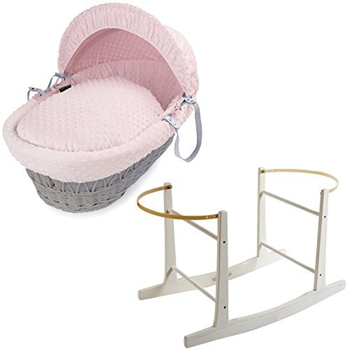 Grey Wicker Pink Dimple Moses Basket With White Rocking Stand For-Your-Little-One