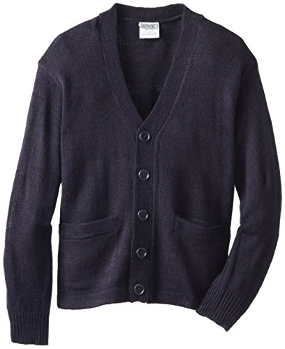 Genuine Big Boys Long Sleeve Classic V-Neck Cardigan Sweater, Navy,8