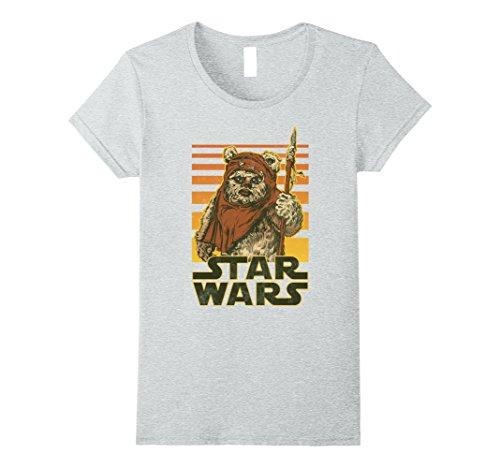 Womens Star Wars Wicket Retro Ewok Sunset Halftone Graphic T-Shirt Medium Heather Grey
