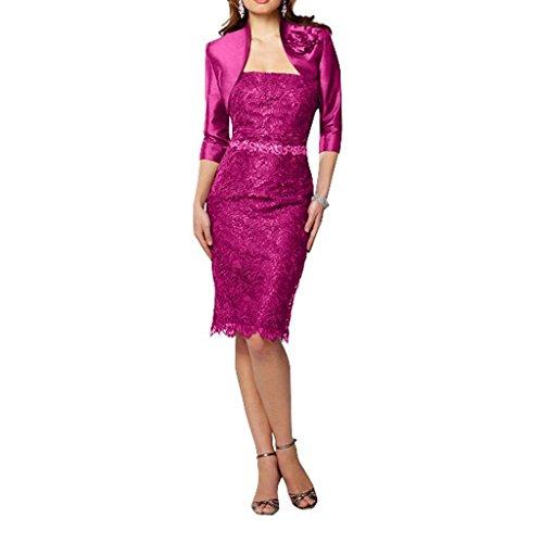 Partykleider Brautmutterkleider Festlichkleider Festlich Pink Braut Etuikleider Abendkleider Figurbetont La mia Knielang Spitze OC0w0a