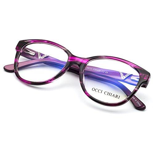 OCCI CHIARI Women Shine Acetate Eyeglasses Frames With Clear Lenses (Dark Purple, - Acetate Cleaning Frames