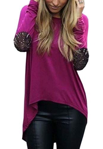 Tees Printemps Tops JackenLOVE Longues Blouse Rond Sweat Col Automne T Shirts Manches et Tunique Fashion Shirts Violet Jumpers Femmes Irregulier Hauts Casual 0qqBdT