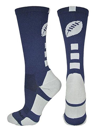 MadSportsStuff Football Logo Crew Socks (Navy/White, Small)