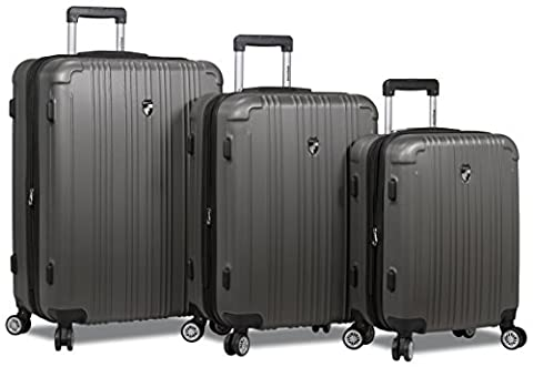 Dejuno ABS Series 3-pcs Expandable Hardside Spinners w/Built In TSA Lock Luggage Set 28, 24 & 20 inch - Expandable Dj System