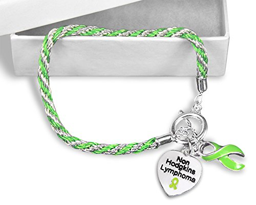 Fundraising For A Cause Non-Hodgkin's Lymphoma Heart & Lime Green Ribbon Rope Bracelet in a Gift Box (1 Bracelet - Retail) -