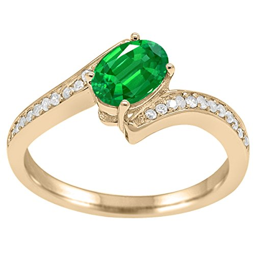 1 Ct. Emerald And Diamond Wedding Engagement Ring In 10k Solid Yellow Gold