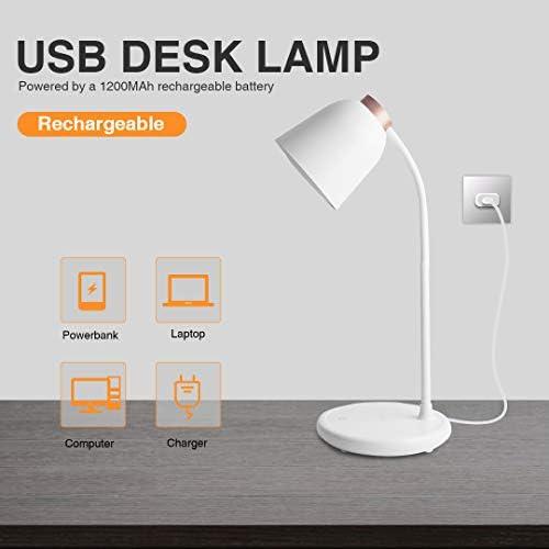 Rosegold Collen Schreibtischlampe LED Augenschutz verstellbarer Schwanenhals USB Tischlampe 5W 3 Farb und 7 Helligkeitsstufen Dimmbar Tischleuchte mit Touchbedienung Energieklasse A+