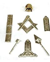 Masonic Working Tools Miniature Silver with Lapel Pin