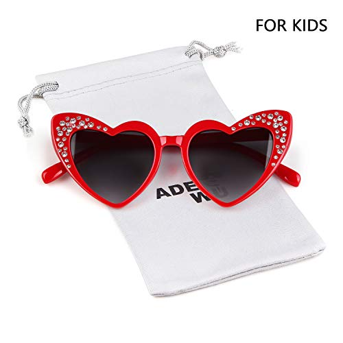 Love Heart Shaped Sunglasses Women Vintage Christmas Giftv For Girls (red, gray) by ADEWU (Image #6)