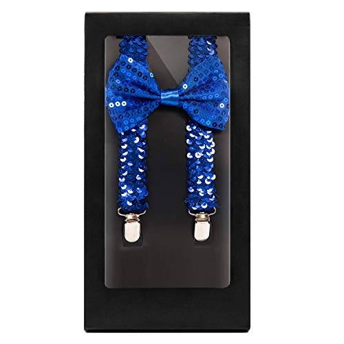 Y-Back Suspender and Bow Tie Matching Set, Adjustable, Clip Design| Great Gift | (Sequined Royal Blue) (1940s Bow)