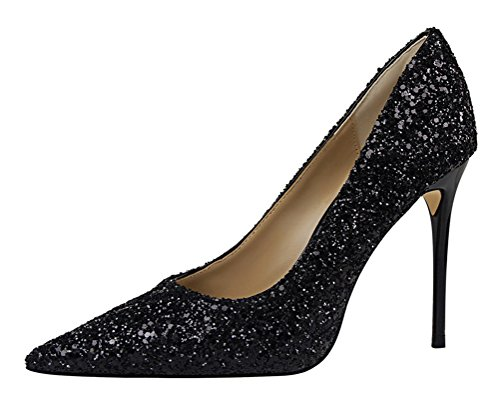 Price comparison product image Passionow Women's Dressy Glitter Bling Sequins Shallow Pointed Toe Stiletto Heel PU Pumps Shoes (7 B(M)US, Black)