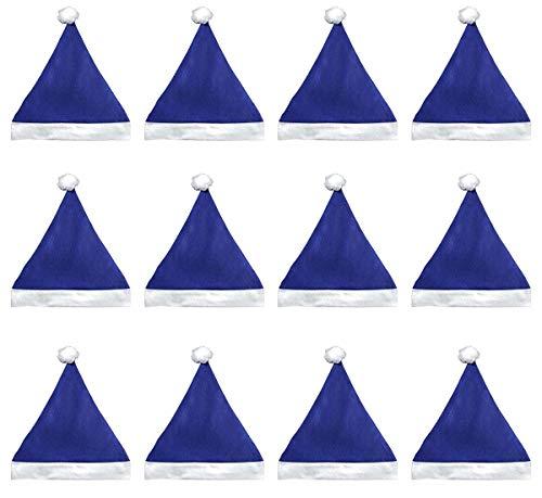 (Blue Santa Hats Bulk Adult Kids 12 Pack Great Christmas Hat For The Holidays Bulk)