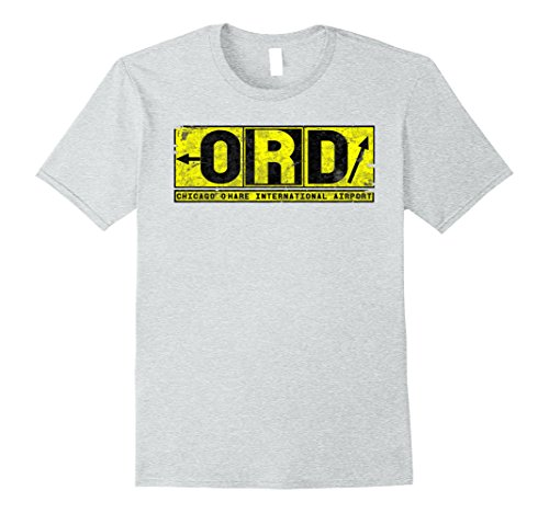 Mens ORD Chicago O'Hare Airport Vintage Taxiway Pilot T-Shirt Medium Heather - Hare Shops O Chicago