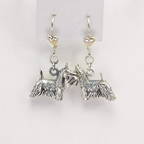 Sterling Silver Scottish Terrier Earrings, Silver Scottie Earrings fr Donna Pizarro's Animal Whimsey Collection