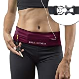 Build & Fitness Running Belt, Adjustable Waist, Comfortable, Slim, Key Clip - Fits Fuel Gel, iPhone 6,7,8plus,X, Samsung S7,S8,S9 - for Men, Women, Runners, Jogging, Gym, Yoga, Workout