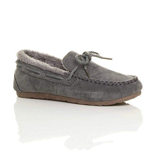 À Des En Mouton Pantoufles Taille Mocassins Chaussures Peau Femmes Gris Imitation Bateau De Des Dames Semelle Souple Fourrure rxnrwCPqzH