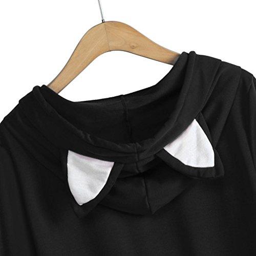 Donna Shirt Lunghe Cappuccio Nero Casual T Camicie Pullover Autunno Elegante Maniche con Tops Felpa Felpa ABCone Camicette 0wndqzUd