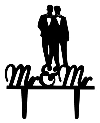 Rubies & Ribbons Gay Couple Wedding Cake Topper Mr & Mr Silhouette Party Decoration with Gift Box